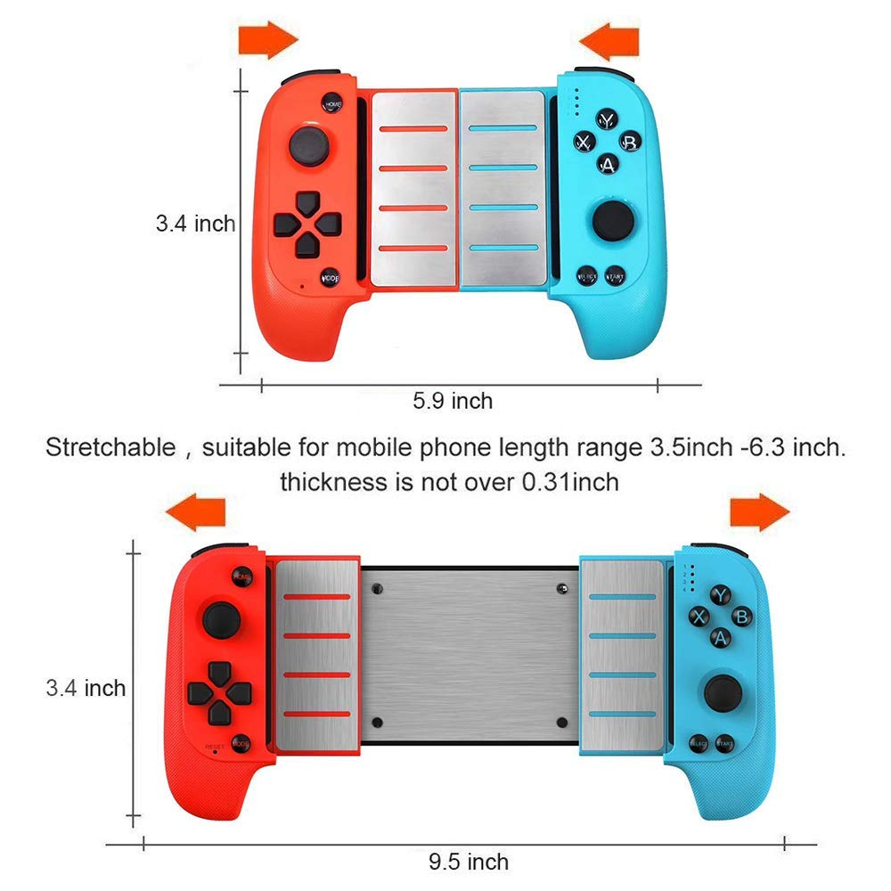 New Saitake 7007F Wireless Bluetooth Game Controller Telescopic Gamepad Joystick for Samsung Xiaomi Huawei Android Phone PC Color : Black|Red blue